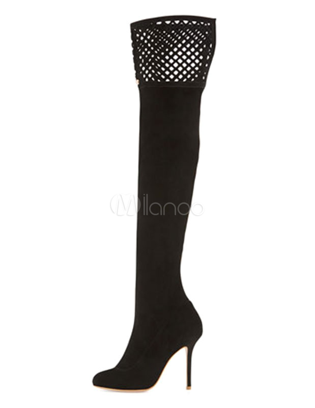 Suede Stretch Boots Over Knee High Heel Sexy Boots Cut Out Women's Pointed Toe Thigh High Boots thumbnail