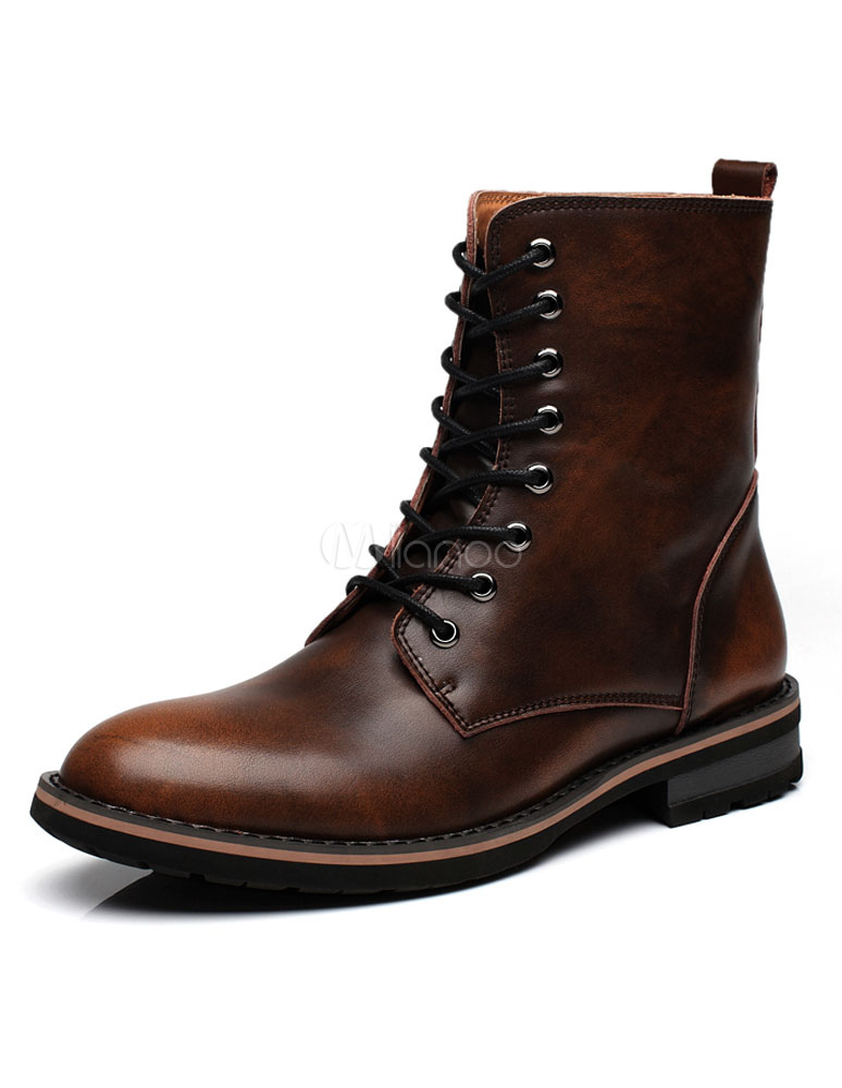 Men's Martin Boots Lace Up High Top Solid Color Winter Boots thumbnail
