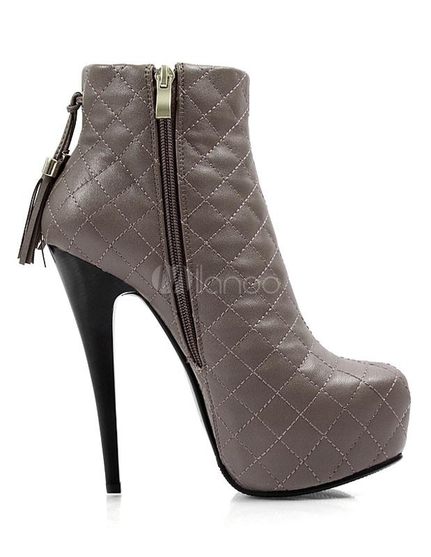 plattform kn chel stiefel high heel gesteppter damen booties mit fransen. Black Bedroom Furniture Sets. Home Design Ideas