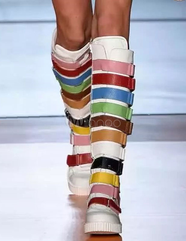 Knee High Boots Multicolor Round Toe Flat Boots For Women thumbnail