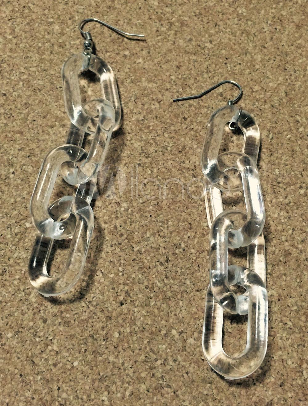 Clear Chain Earrings Women's Pierced 4-link Chain Transparent Earrings thumbnail