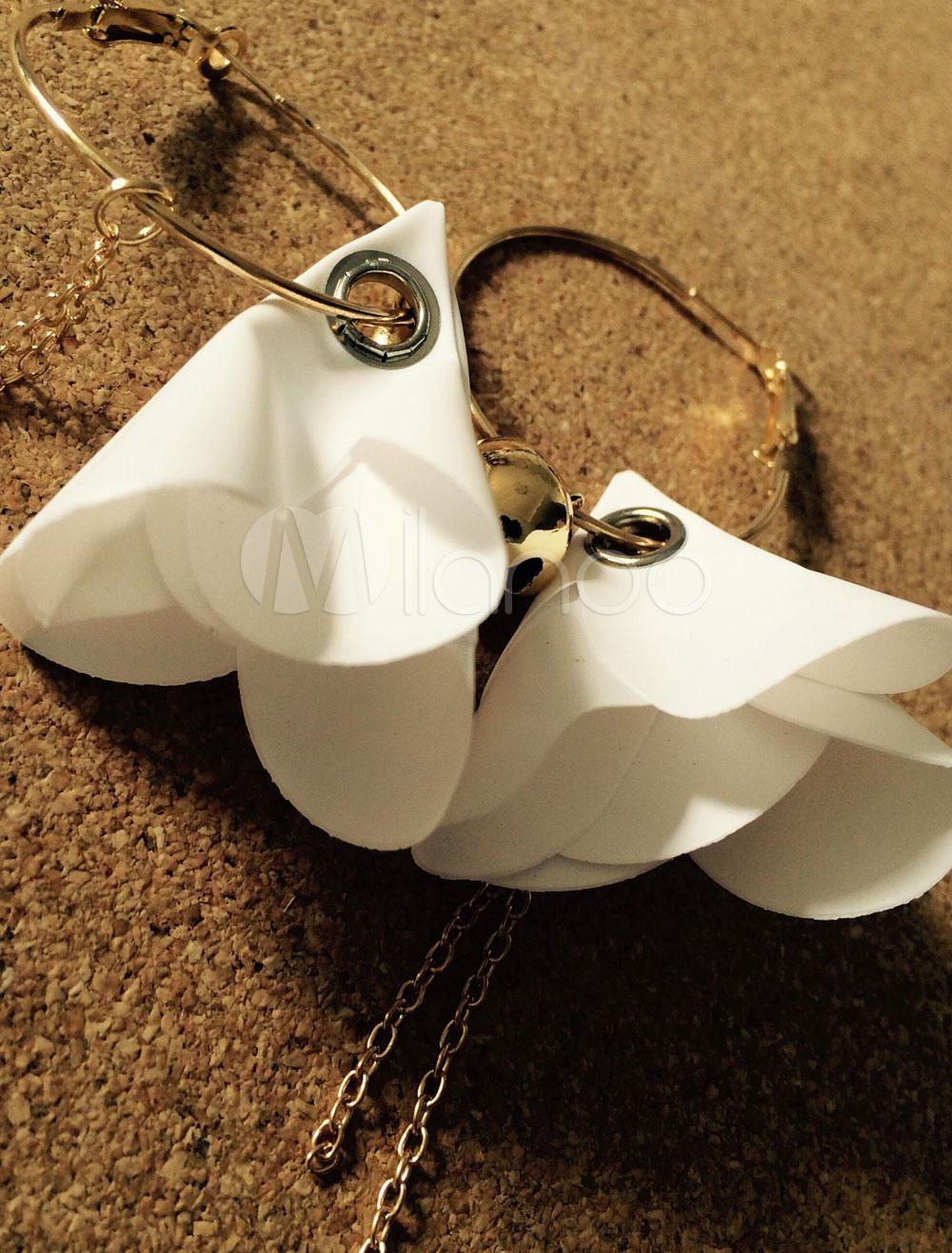 White Dangle Earrings Chain Flowers Bell Women's Pierced Hoop Dangle Earrings thumbnail