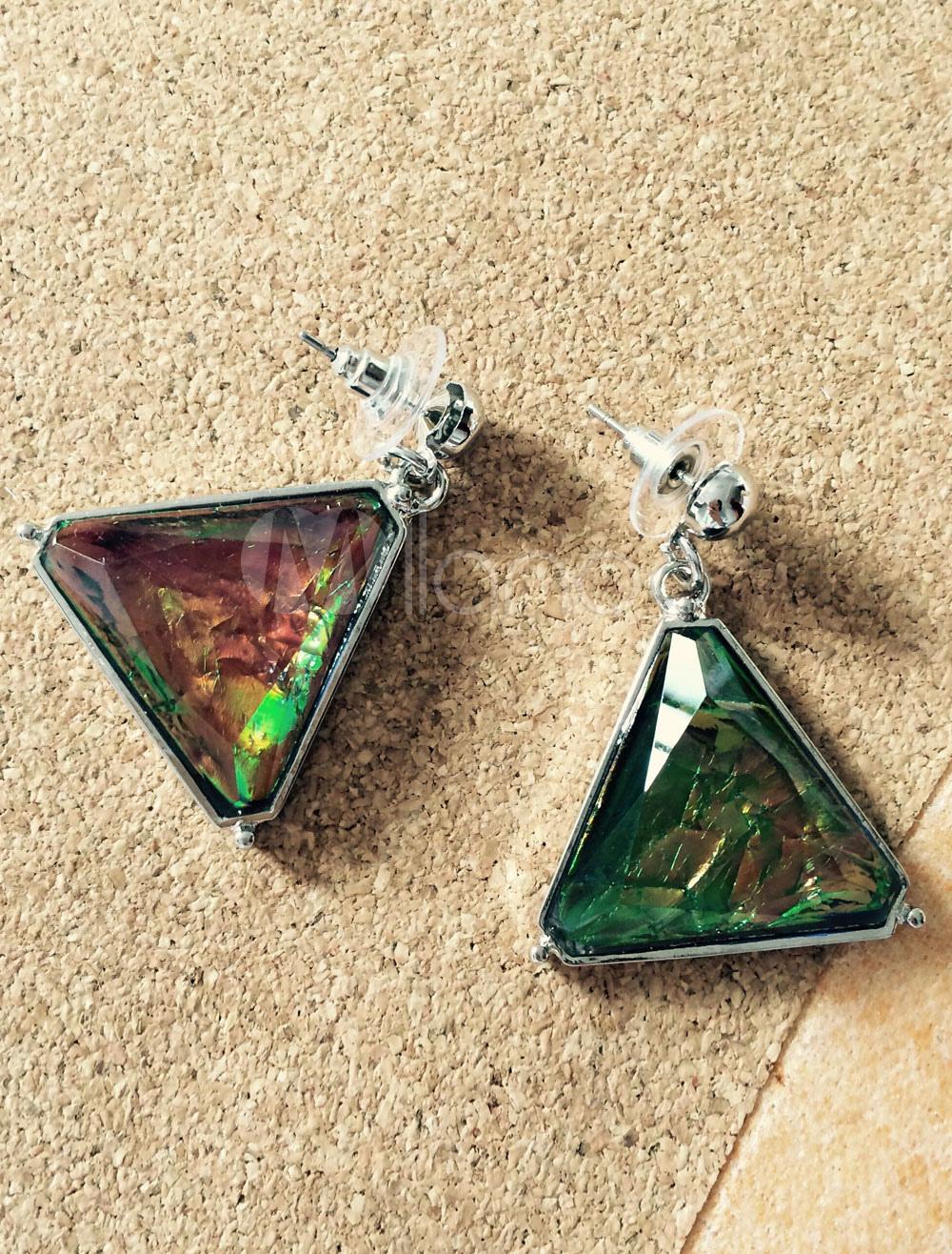 Triangle Dangle Earrings Green Pierced Women's Resin Pendant Earrings thumbnail