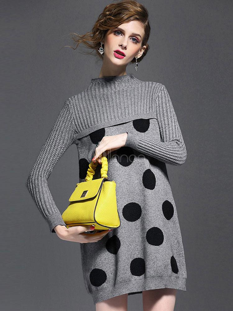 grauen pullover kleid rundhals langarm polka dot strickkleid winter f r frauen. Black Bedroom Furniture Sets. Home Design Ideas