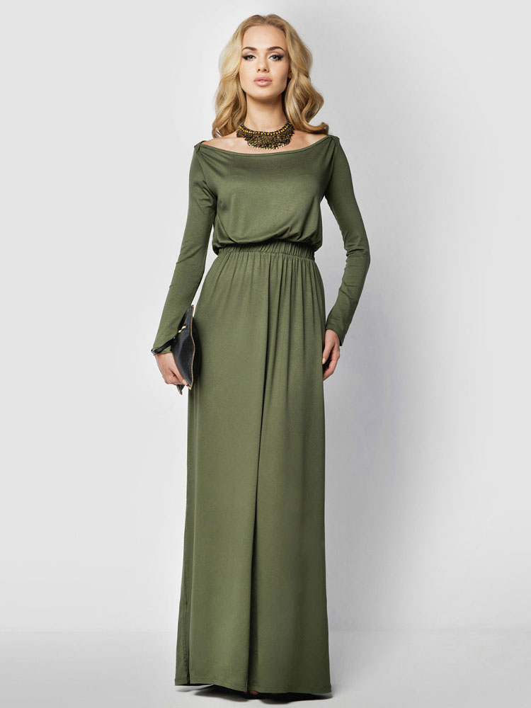 Green Maxi Dress Bateau Neckline Long Sleeve Elastic Waist Pleated Cotton Long Dress (Women\\'s Clothing Maxi Dresses) photo