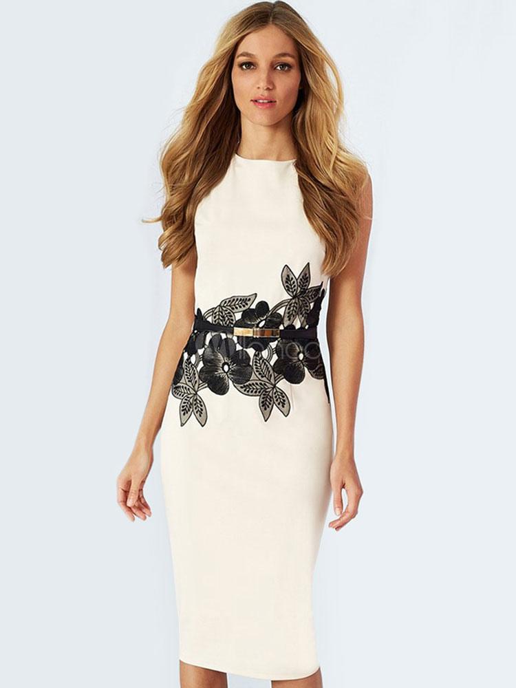 White Pencil Dress Applique Sleeveless Women's Cotton Blend Bodycon Dress (Women\\'s Clothing Vintage Dresses) photo