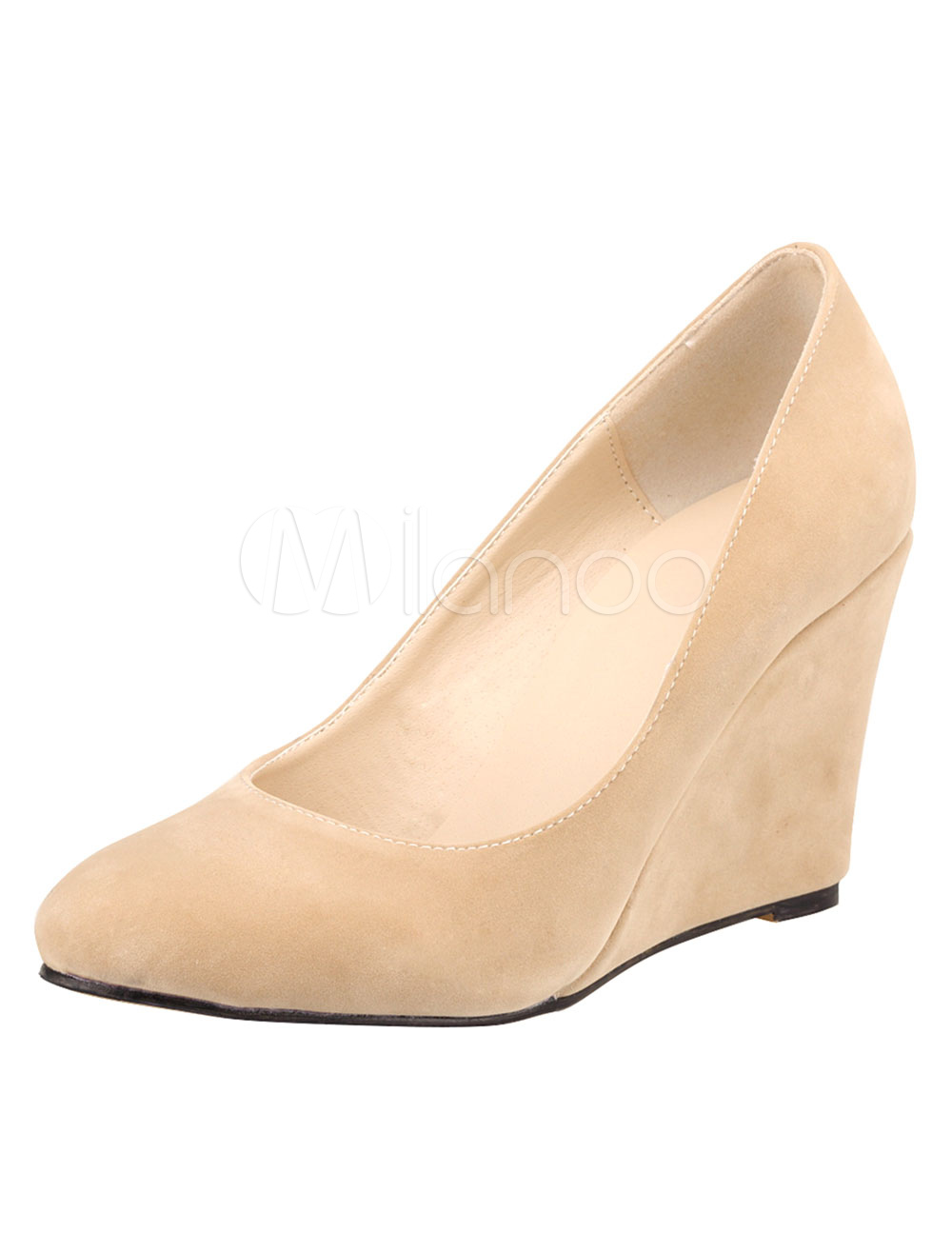 Suede Wedge Pumps Round Toe Slip On Shoes For Women thumbnail