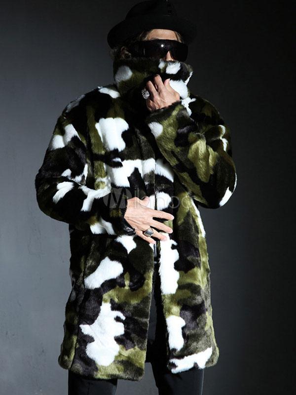 fausse fourrure manteau hommes plus manteau d hiver taille agrafe de camouflage. Black Bedroom Furniture Sets. Home Design Ideas