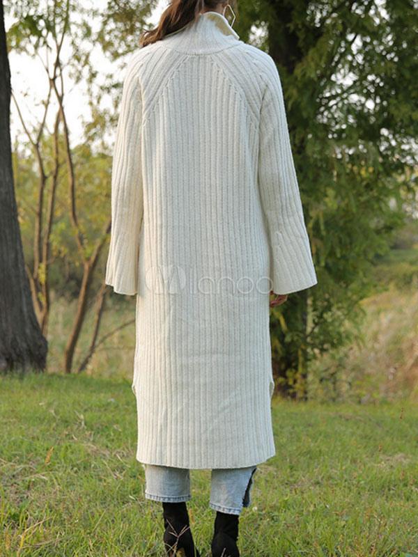 wei er pullover kleid stehkragen ausgestellte rmel split. Black Bedroom Furniture Sets. Home Design Ideas
