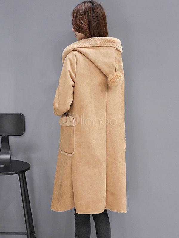 mantel aus veloursleder mit taschen und kapuze in lohfarbe. Black Bedroom Furniture Sets. Home Design Ideas