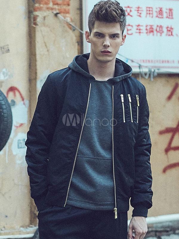 Men's Bomber Jacket Zipper Embellished Hood Jersey Fashion Jacket thumbnail