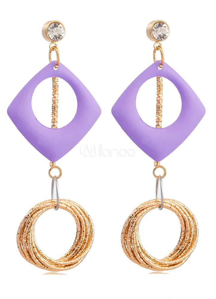 Women's Drop Earrings Hoop Tiered Purple Pierced Stud Dangle Earrings thumbnail