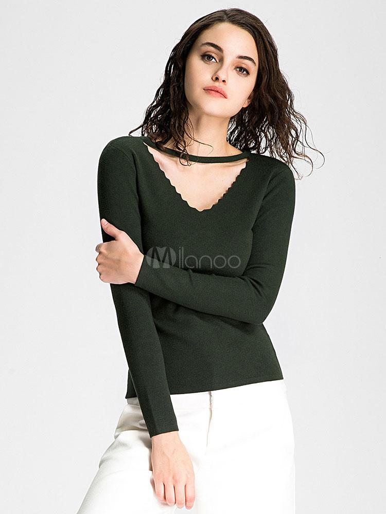 charmant pull pour femme moderne bleu fonc tricot creus lastique manches longues. Black Bedroom Furniture Sets. Home Design Ideas