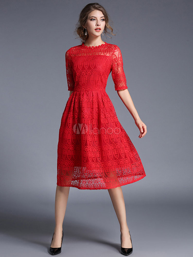 Red Lace Dress Vintage Style Half Sleeve Illusion A Line Skater Dress For Women (Women\\'s Clothing Lace Dresses) photo