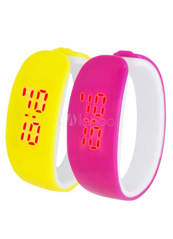 LED Sport Watch Fashion Unisex Touchscreen Irregular Rubber Band Plastic Wrist Watch
