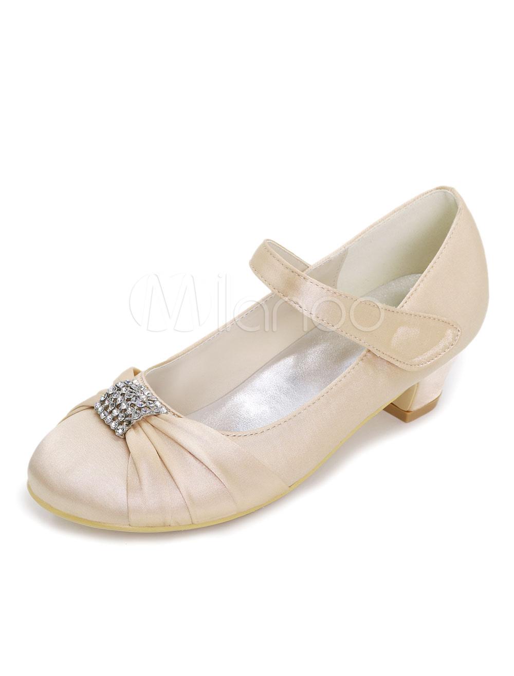 Rhinestones Flower Girl Pumps Pleated Champagne Wedding Shoes For Flower Girl thumbnail