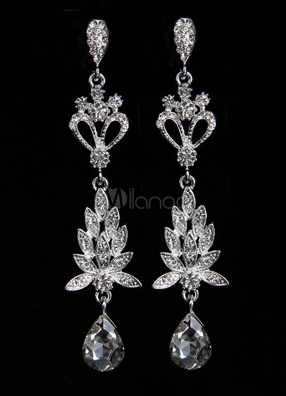 Silver Drop Earrings Flowers Rhinestone Women's Pierced Long Dangle Earrings thumbnail