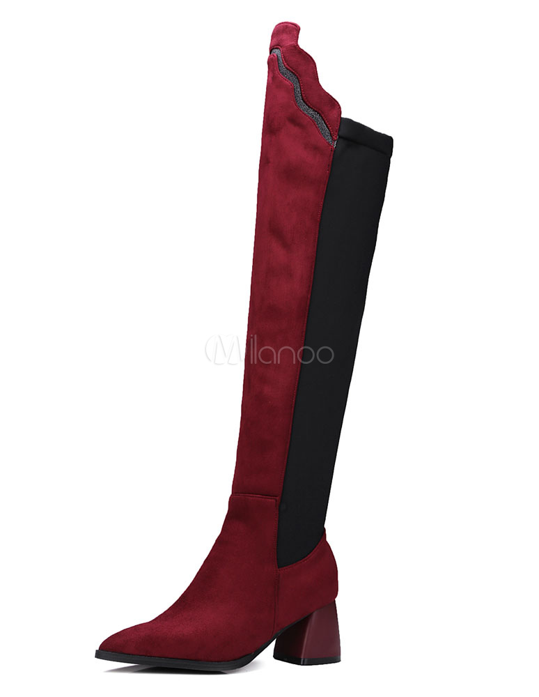 High Heel Boots Suede Two Tone Knee Length Spool Heel High Boots For Women thumbnail