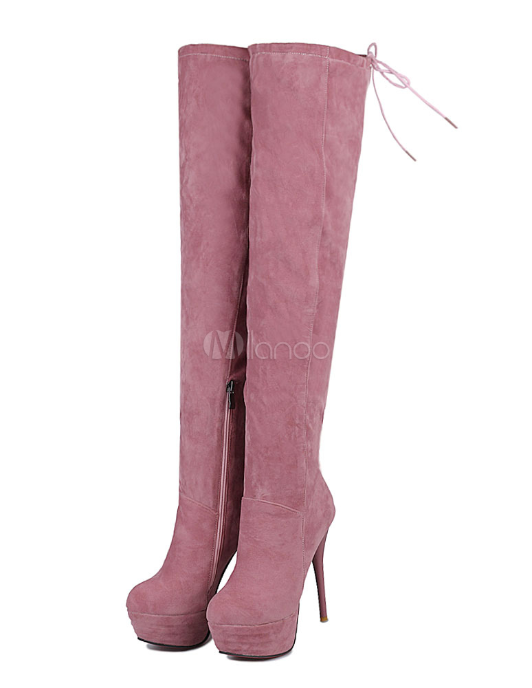 Thigh High Boots Suede High Heels Women's Round Toe Over The Knee Stiletto Winter Boots thumbnail