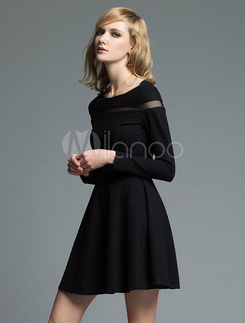 Black Skater Dress Long Sleeve Short Evening Dress Women's Net Crewneck Pleated A Line Dress (Women\\'s Clothing Skater Dresses) photo
