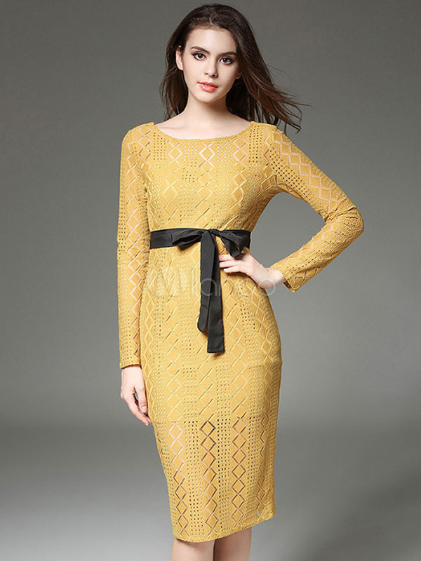 Black Lace Dress Bodycon Long Sleeve Women's Semi-Sheer Round Neck Sheath Dress (Women\\'s Clothing Bodycon Dresses) photo