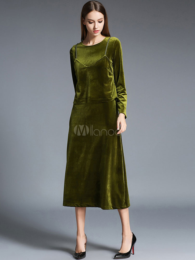 Green Maxi Dress 2 Piece Women's Velour Long Dress For Winter (Women\\'s Clothing Maxi Dresses) photo