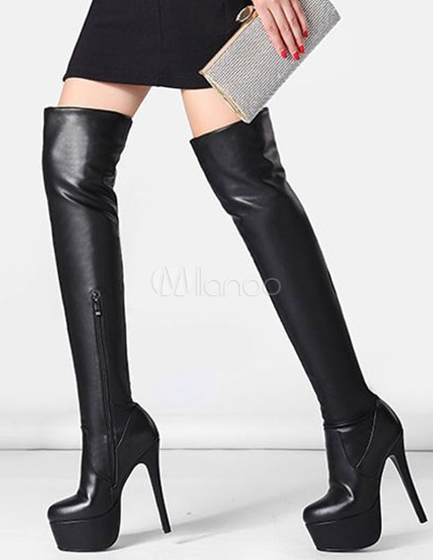 Platform High Boots Black Over The Knee Stiletto Thigh High Boots ...
