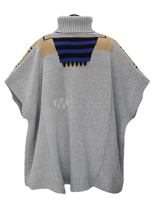 jacquard grau poncho pullover stehkragen damen kurzarm stricken pullover. Black Bedroom Furniture Sets. Home Design Ideas