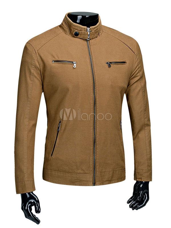 Men's Cotton Jacket Zip Up Pocket Stand Collar Windbreaker Jacket thumbnail