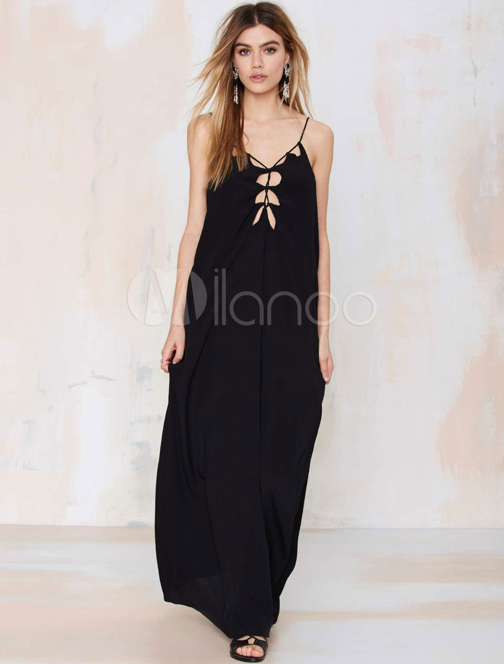 Black Maxi Dress Strappy Sleeveless Cut Out Backless Cotton Long Dress (Women\\'s Clothing Maxi Dresses) photo