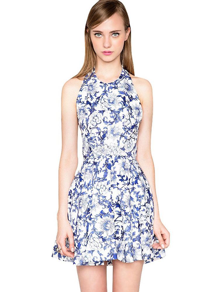 Floral Skater Dress Halter Backless Summer Dress Women's Sleeveless Short A Line Flare Dress (Women\\'s Clothing Skater Dresses) photo