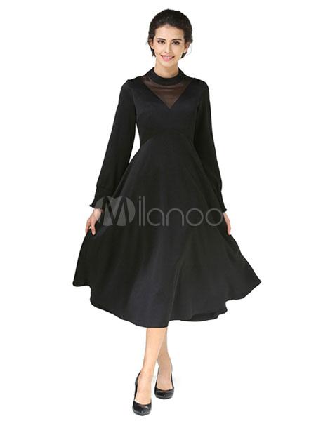 Black Skater Dress Vintage Round Neck Long Sleeve Slim Fit Pleated Flare Dress (Women\\'s Clothing Skater Dresses) photo