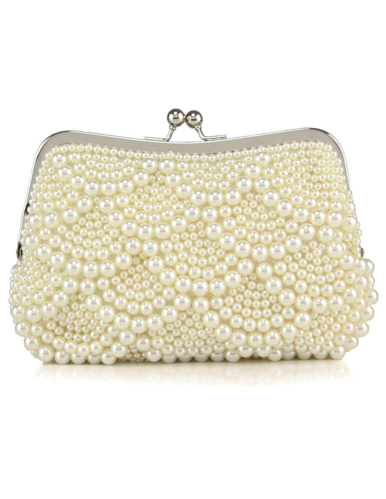 Pearls Wedding Bags Ivory Kiss Lock Purse Beaded Evening Clutch Bag (Wedding Handbags) photo