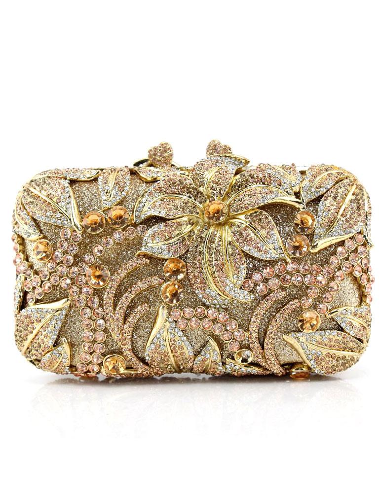 Evening Clutch Bag Champagne Bridal Purse Rhinestone Beaded Flowers Wedding Box Handbag (Wedding Handbags) photo
