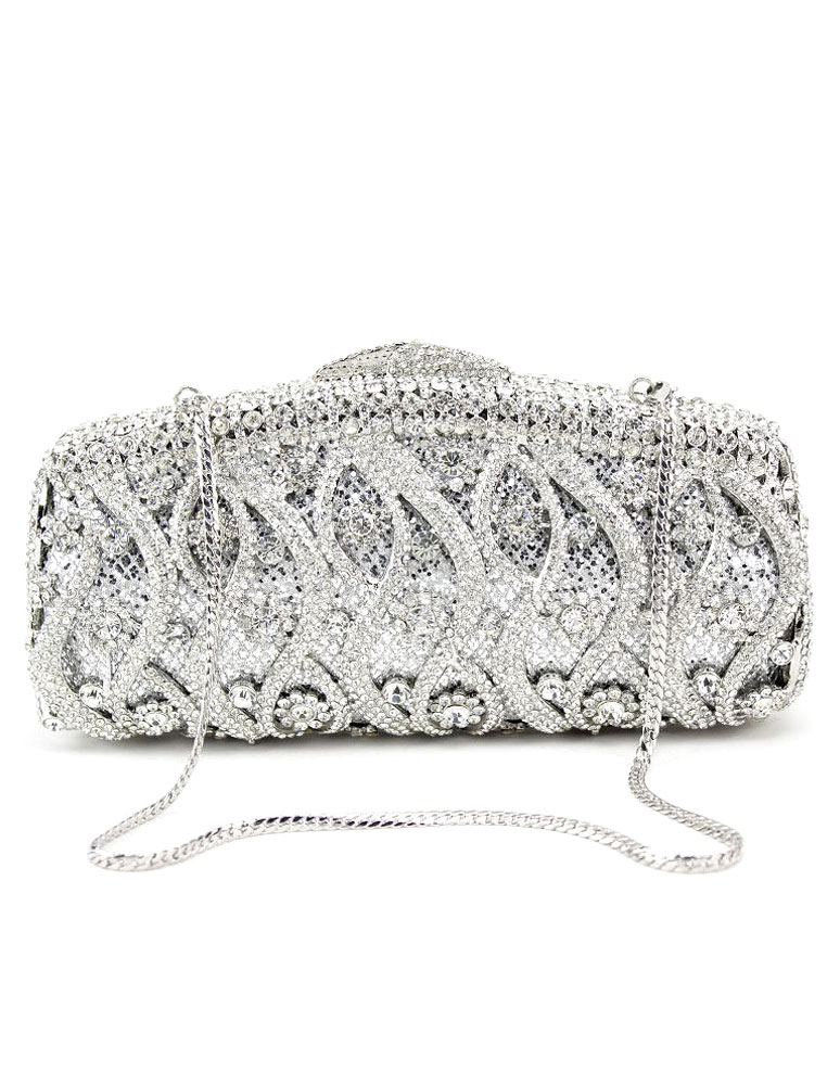 Wedding Clutch Handbags Glitter Silver Bridal Purses Chain Strap Luxurious Prom Evening Bags (Wedding Handbags) photo
