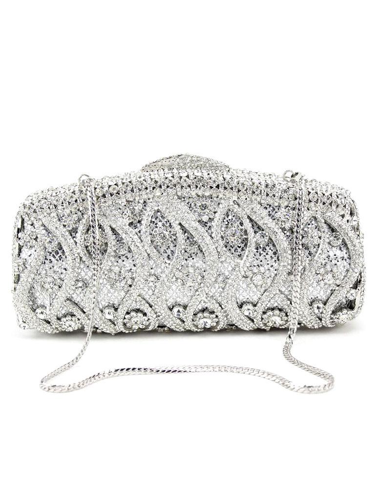 Wedding Clutch Handbags Glitter Silver Bridal Purses Chain Strap Luxurious Prom Evening Bags (Wedding Handbags) photo