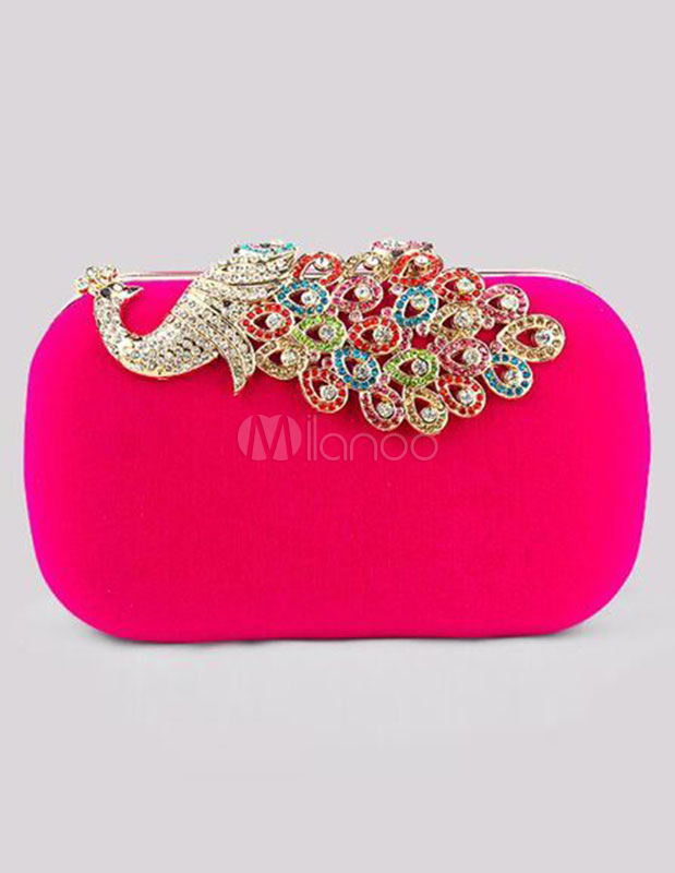 Evening Clutch Bag Wedding Box Handbag Rhinestone Peacock Deco Bridal Purse (Wedding Handbags) photo