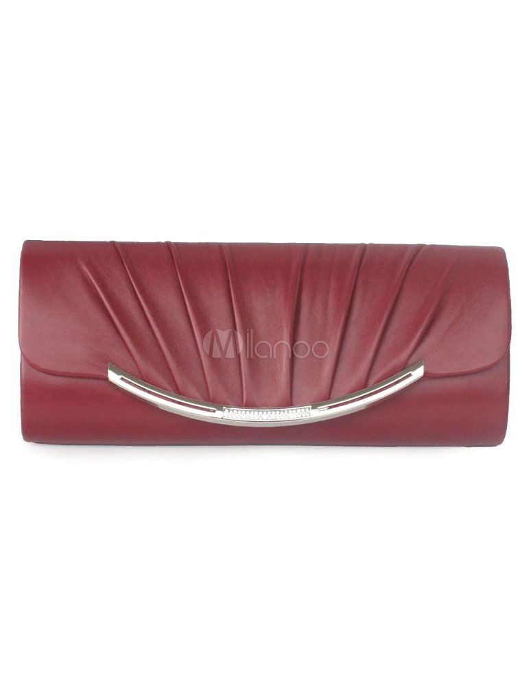 Evening Clutch Bag Wedding Chain Pleated Burgundy Faux Leather Bridal Purse (Wedding Handbags) photo