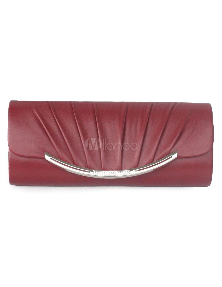 Evening Clutch Bag Wedding Chain Pleated Burgundy Faux Leather Bridal Purse (Wedding Handbags) photo