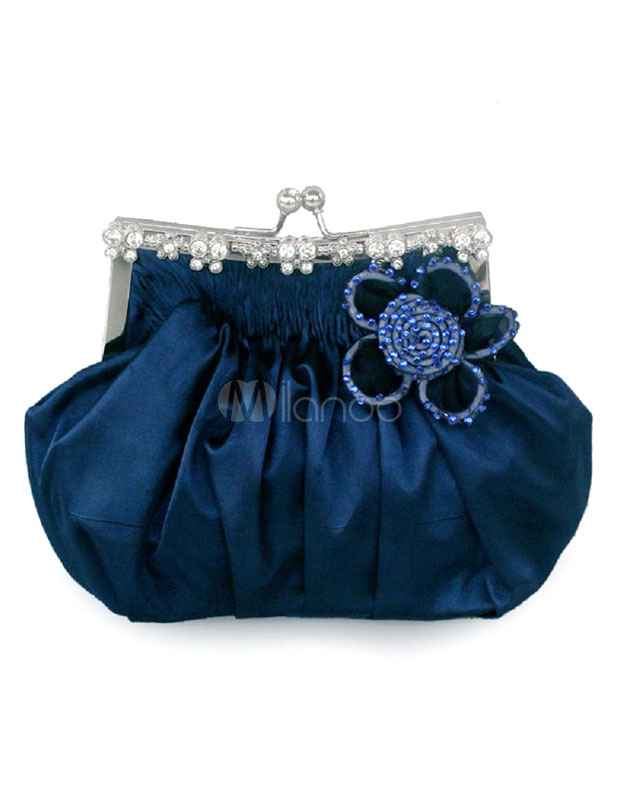 Wedding Clutch Bag Blue Beaded Flower Kiss Lock Purse Ruched Bridal Evening Bags (Wedding Handbags) photo