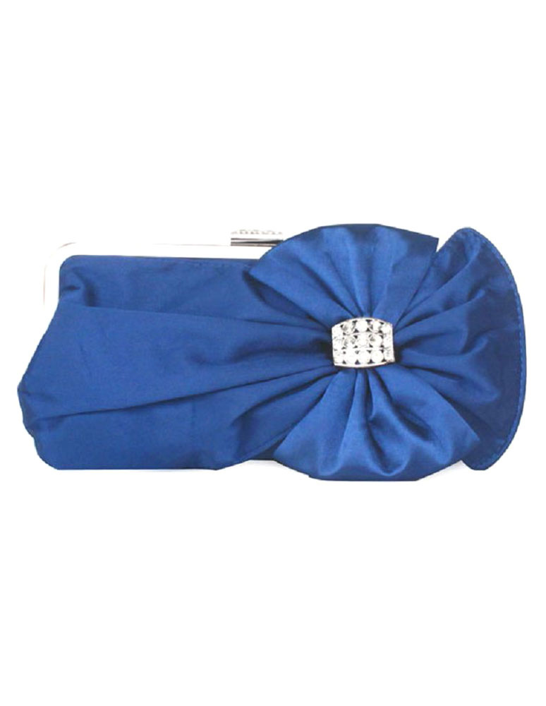Bridal Clutch Bag Blue Wedding Handbag Bow Rhinestone Beaded Evening Purse (Wedding Handbags) photo
