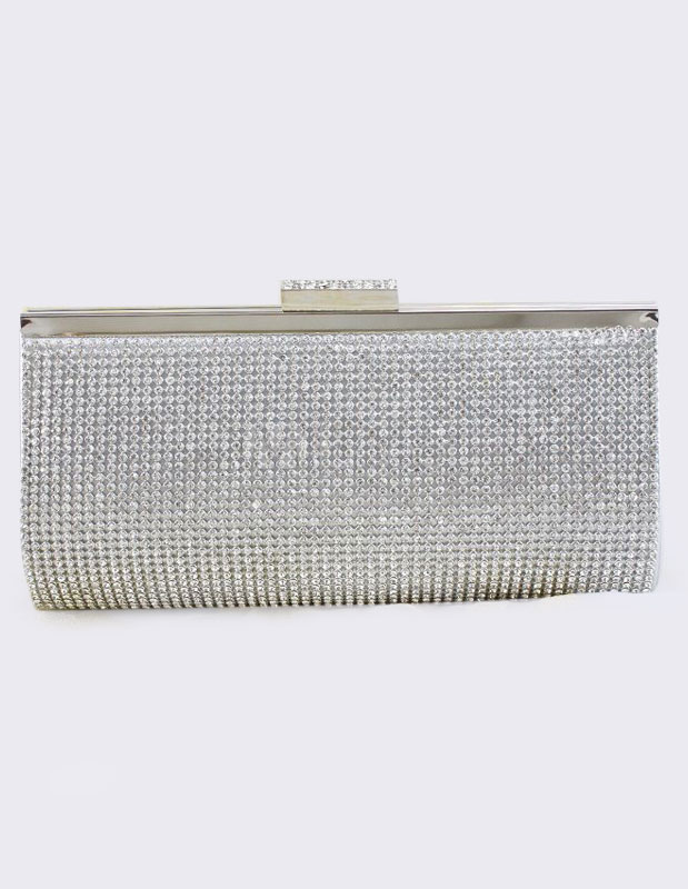 Wedding Clutch Bag Silver Rhinestones Beaded Purse Bridal Evening Bags (Wedding Handbags) photo