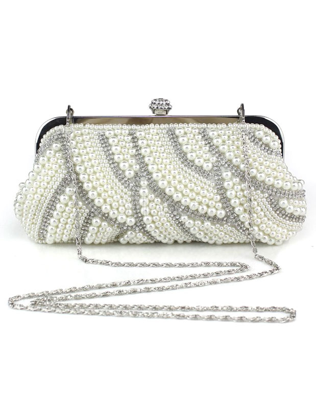 Evening Clutch Bag Pearls White Evening Bags Rhinestones Chain Strap Bridal Purse (Wedding Wedding Handbags) photo