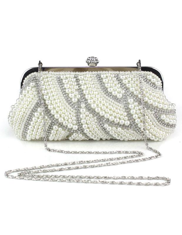 Evening Clutch Bag Pearls White Evening Bags Rhinestones Chain Strap Bridal Purse (Wedding Wedding Handbags) photo