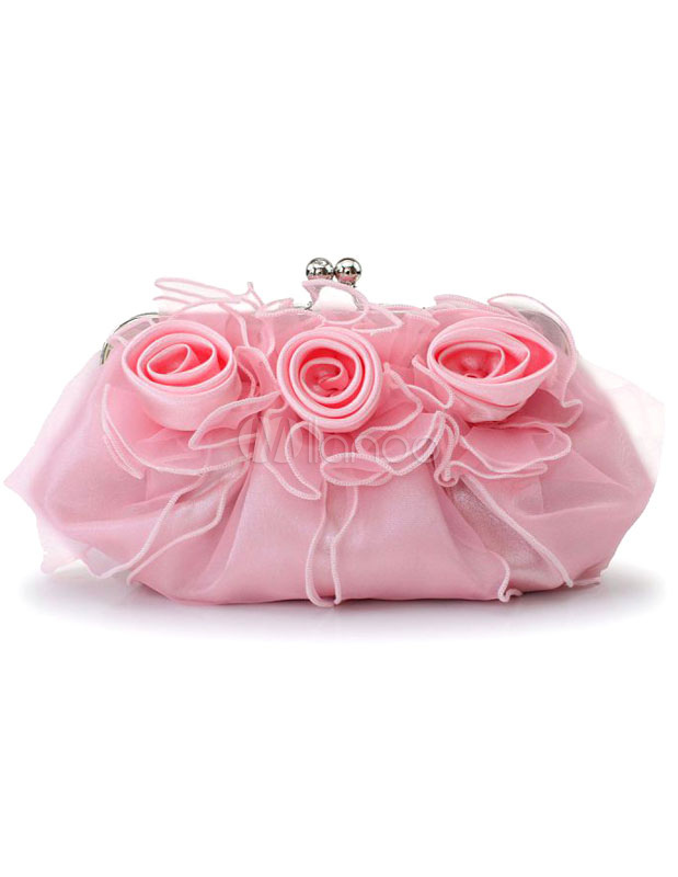 Evening Clutch Bag Wedding Pink Rose Flowers Ruffle Kiss Lock Bridal Purse (Wedding Handbags) photo
