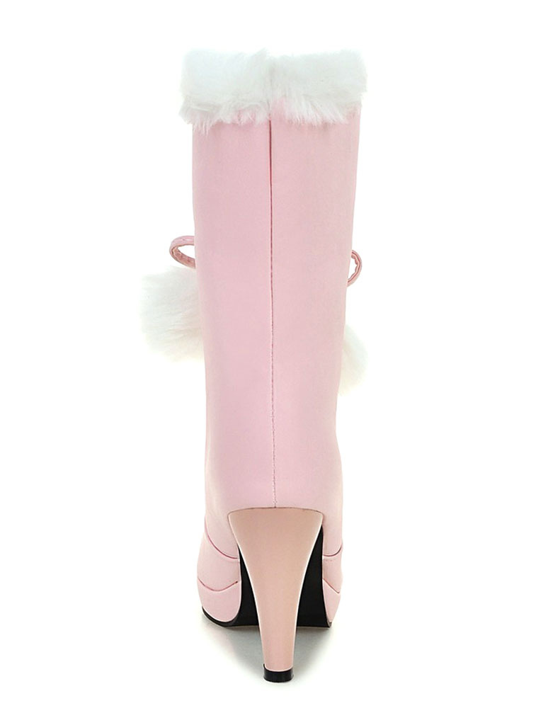White Winter Boots Fur Top High Heel Boots Women S Lace Up
