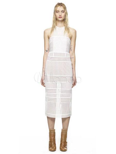 robe d 39 t blanche en dentelle unicolore col ras du cou. Black Bedroom Furniture Sets. Home Design Ideas