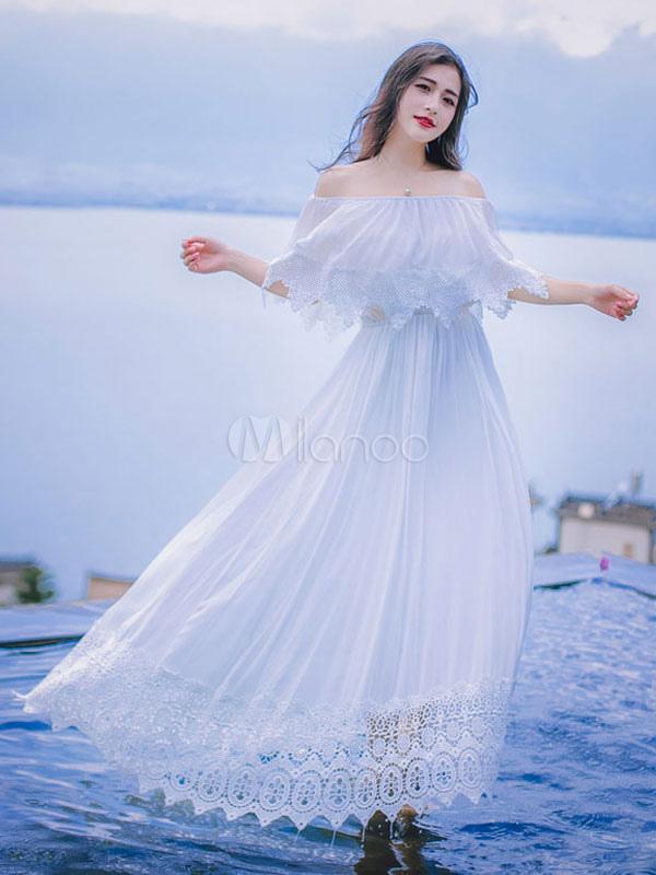 white maxi dress off shoulder women 39 s lace trim pleated. Black Bedroom Furniture Sets. Home Design Ideas