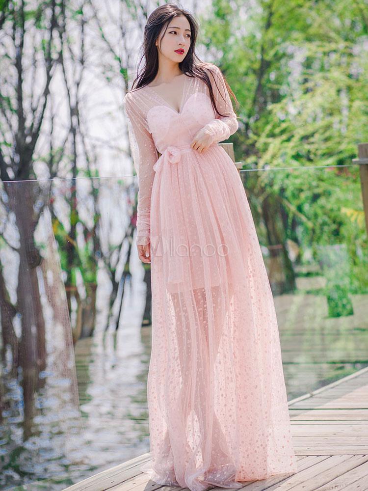 Pink Maxi Dress Tulle V Neck Women's Long Sleeve Polka Dot Split Semi Sheer Long Dress With Sash (Women\\'s Clothing Maxi Dresses) photo