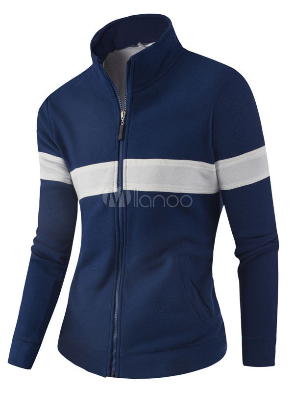 Men's Track Jacket Stand Collar Striped Long Sleeve Zip Up Sports Jacket thumbnail